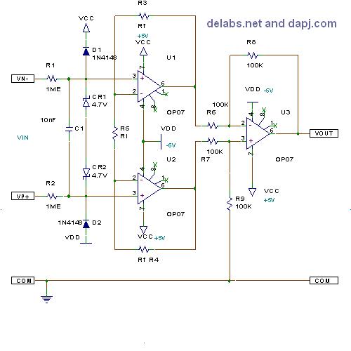 3 Op Amp Differential Instrumentation Amp Delabs