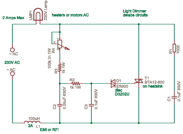 triac based lamp dimmer power control