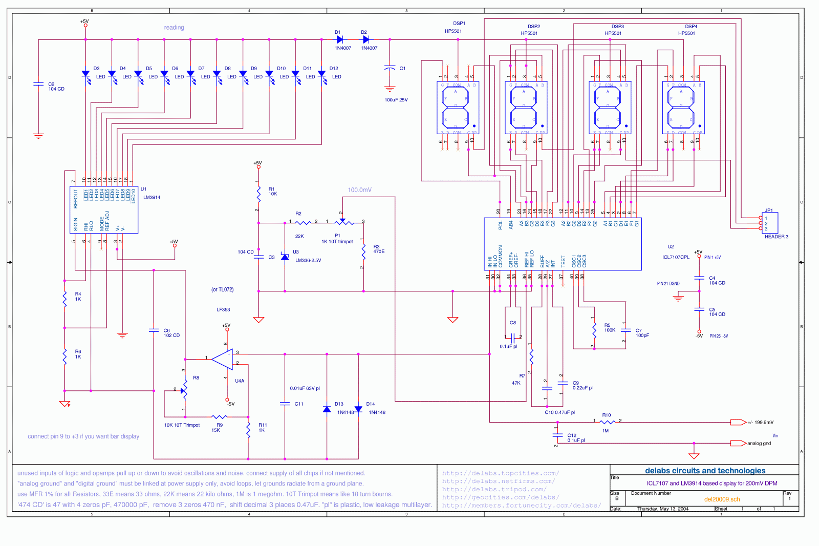 Lm3914 Ic In Multisim Voltmeter Schematic