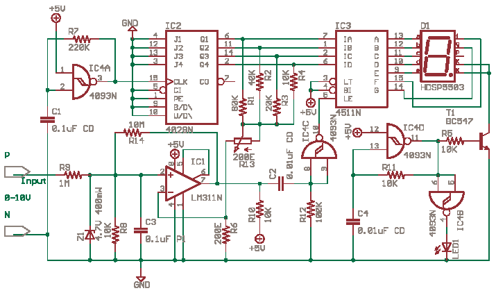 Single Digit Voltmeter with LM311