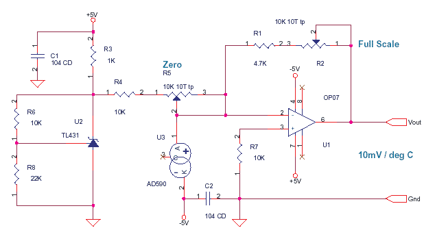 AD590 based Temperature Sensor